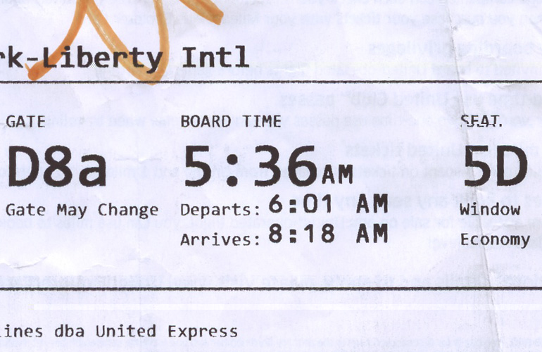 united boarding pass showing early morning flight