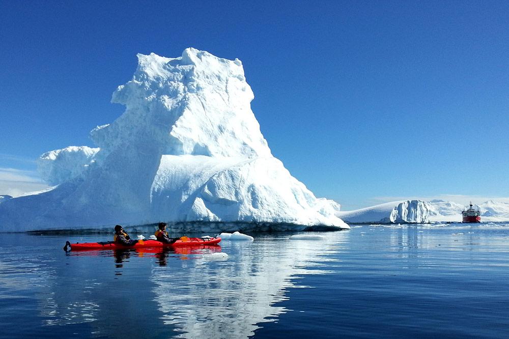 An iceberg kayaking expedition