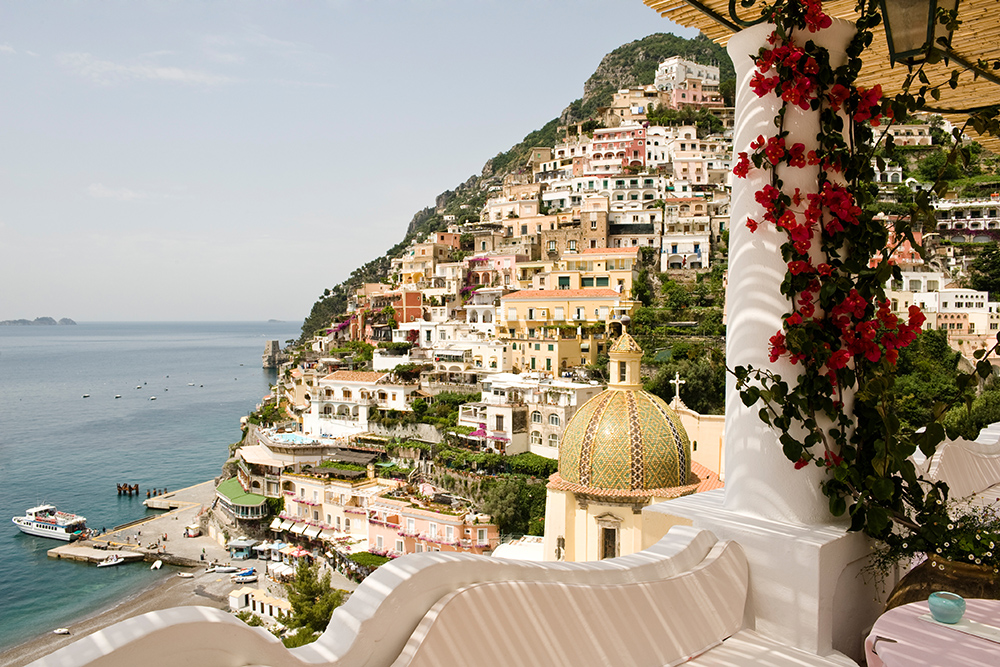 The view from the terrace of Le Sirenuse, Positano, Italy. Photograph by Stefano Scatà.