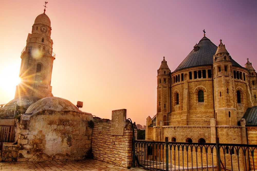 Dormition Abbey at Sundown, Jerusalem, Israel
