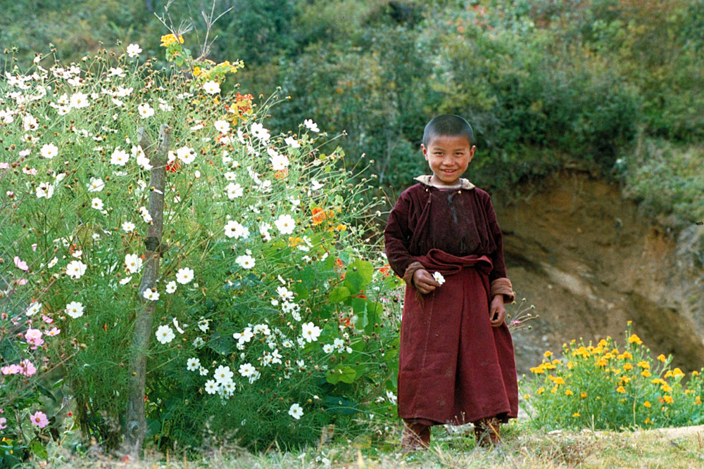 Monk and flowers, Nepal.