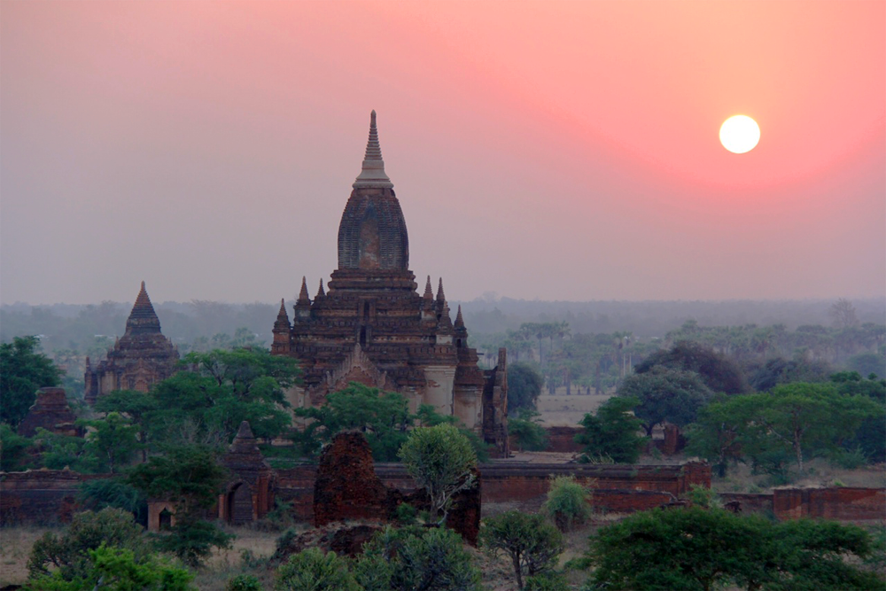Sunset over Bagan, Myanmar.