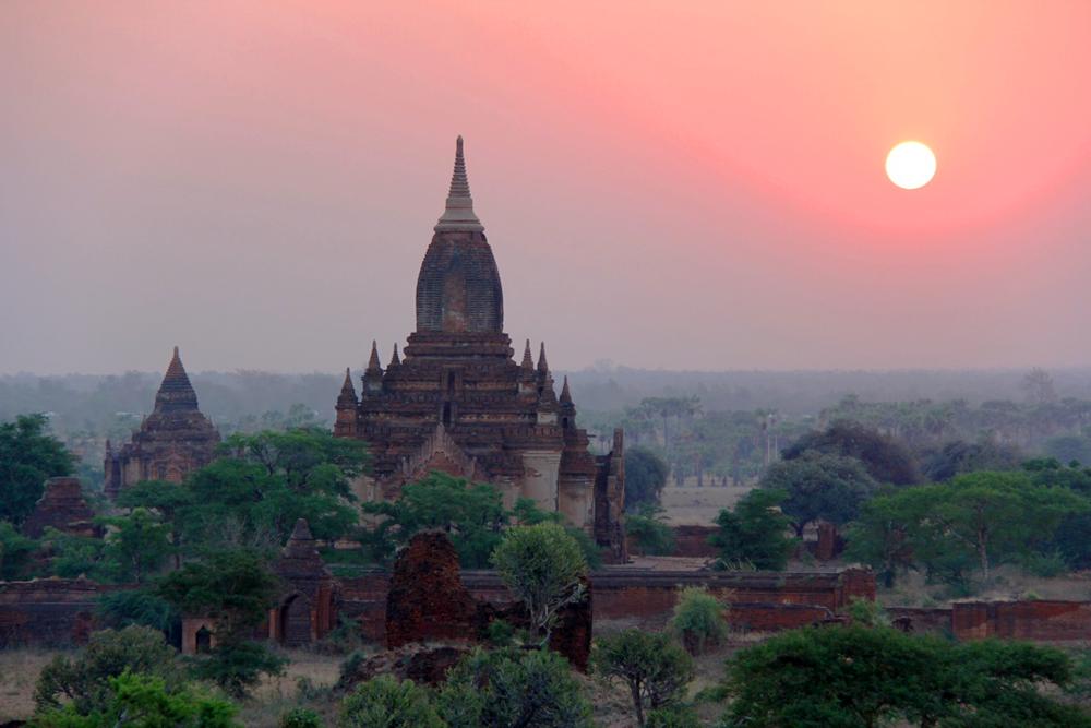 Sunset over Bagan, Myanmar.
