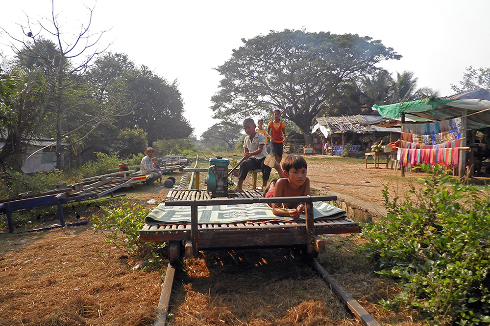 Wooden train in Battambang, Cambodia. Photo courtesy Journeys Within.
