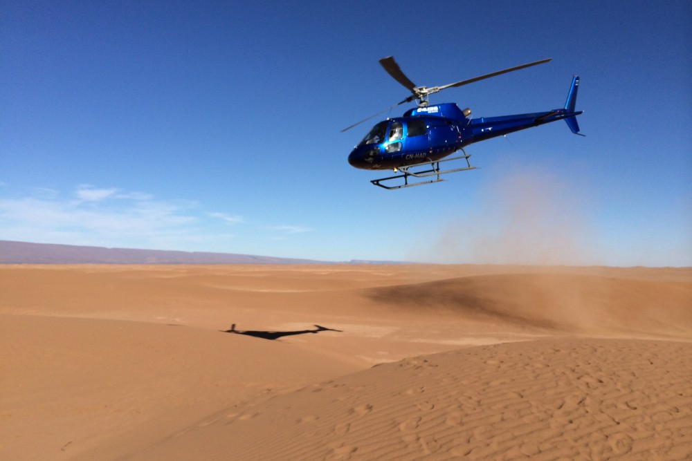 Sahara Morocco Helicopter Landing