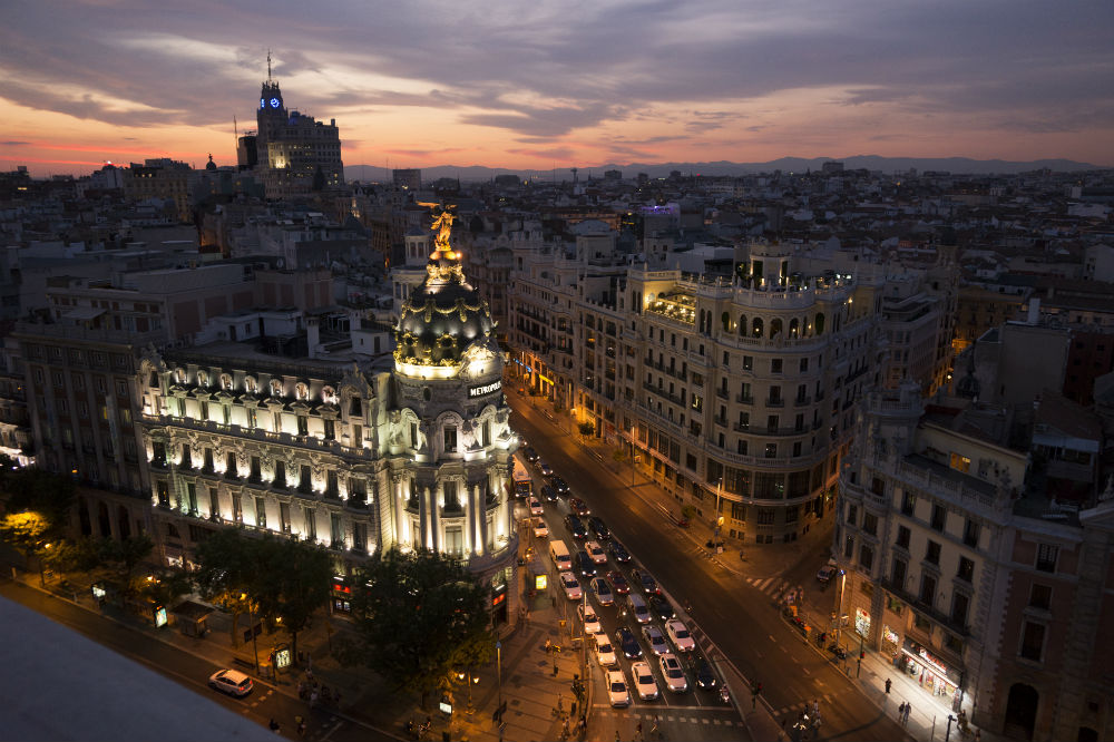 madrid city scape at night