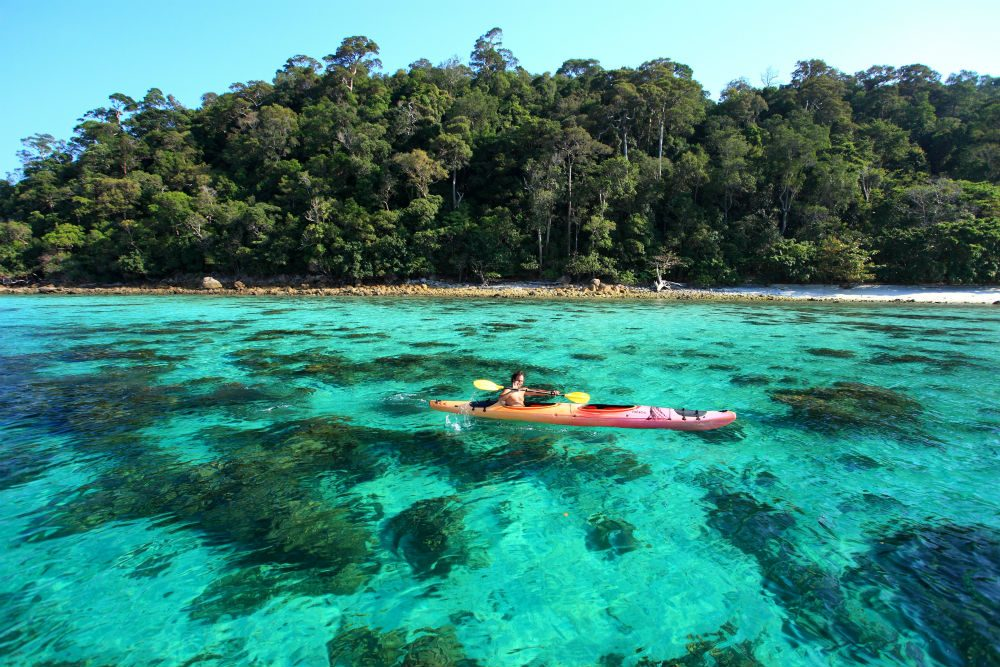 kayak on turquoise water Koh Lipe island Thailand
