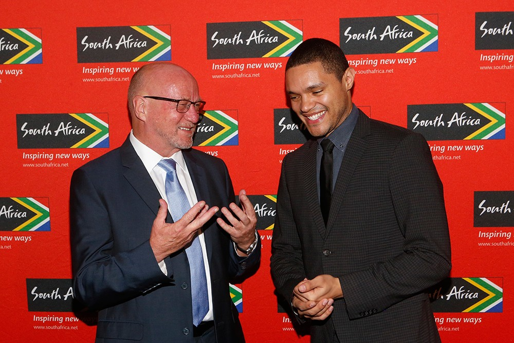 South Africa's Minister of Tourism Derek Hanekom and comedian Trevor Noah.
