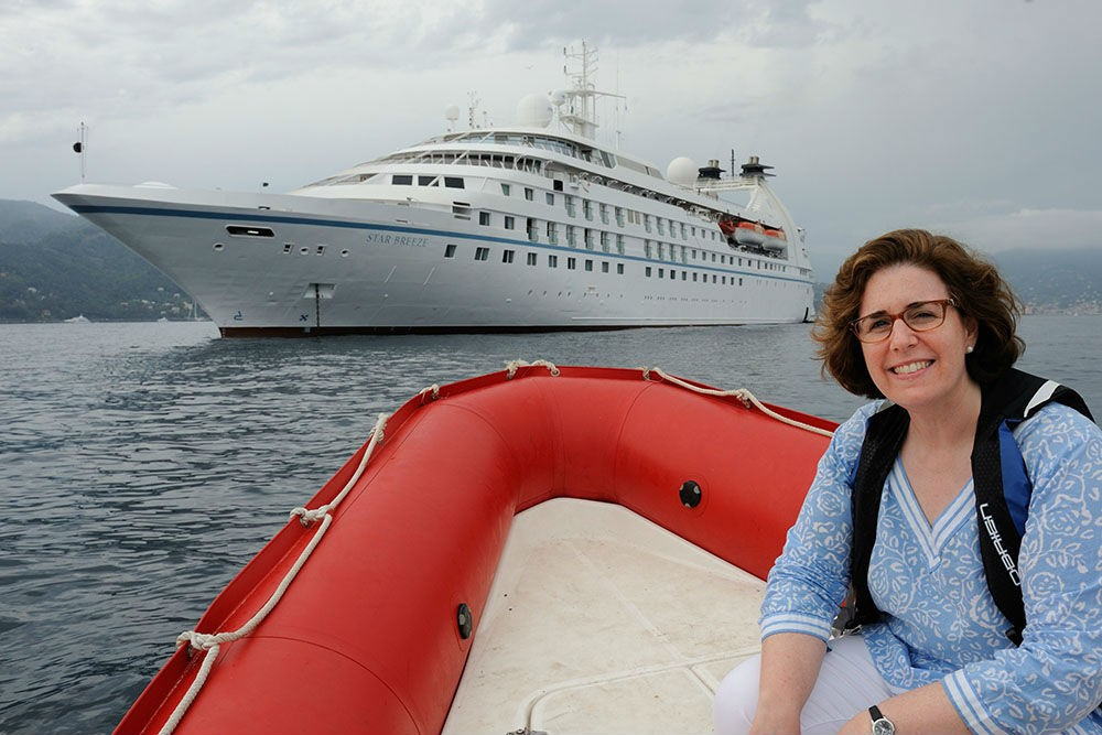 Windstar Cruises' Star Breeze—and Wendy in one of its zodiacs