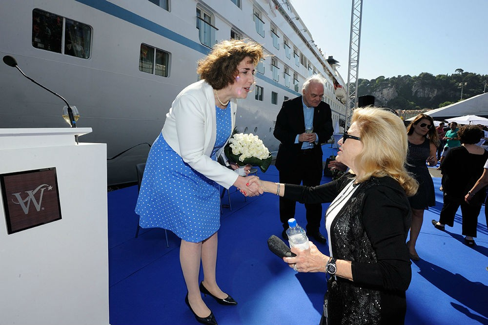 With Nancy Anschutz, godmother of Star Breeze's sister ship Star Pride