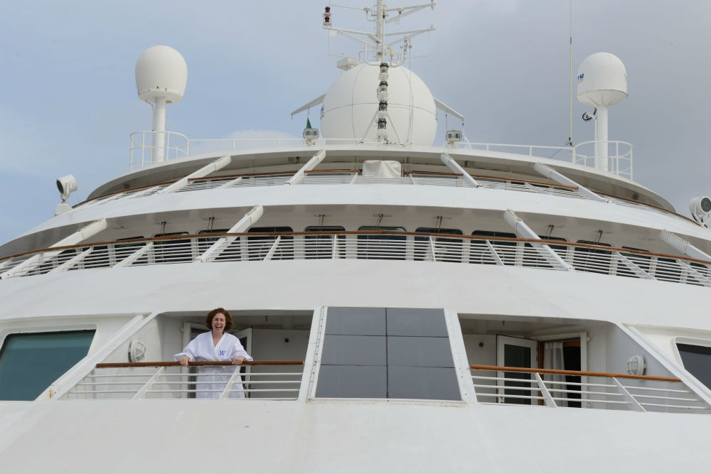 Wendy on her balcony on the ship's bow