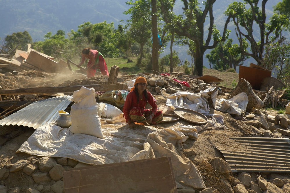 Life goes on around the rubble in Nepal