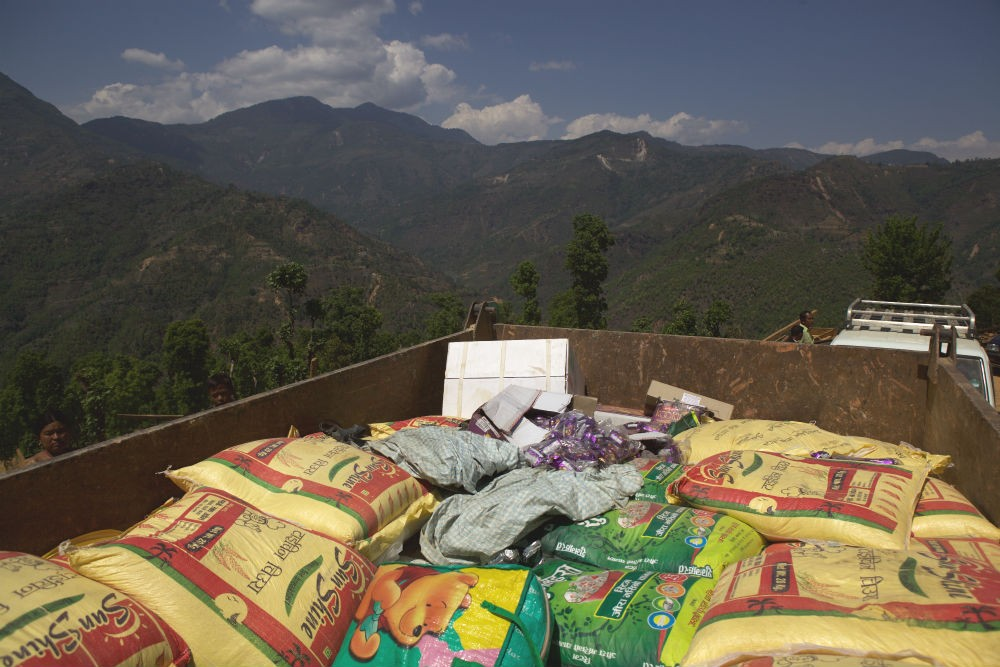 Truck-loaded with supplies for Kunchuk Village about 75km NE of Kathmandu