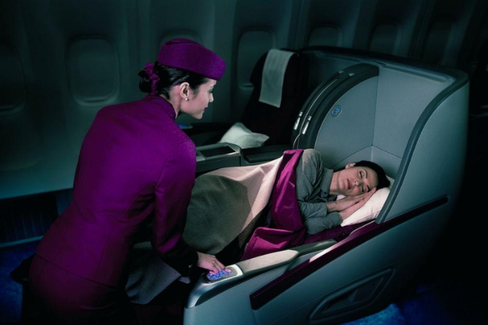 Qatar Airways lie-flat beds