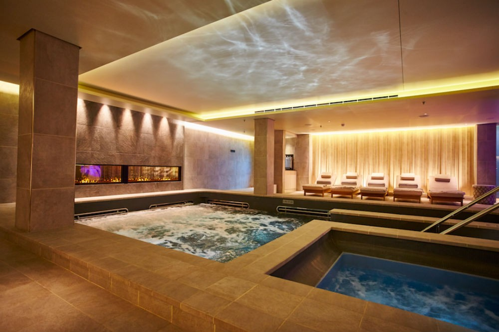 The onboard spa, which all passengers are free to use without paying an additional fee. Along with a heated pool and whirlpool, the spa also has saunas, plunge pools, and a snow room.