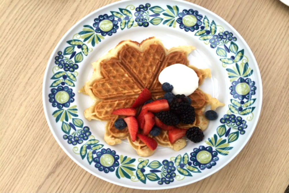 Norwegian-style waffles, fluffier than Swedish ones, are up for grabs morning and afternoon in the little Norwegian deli on deck 7.