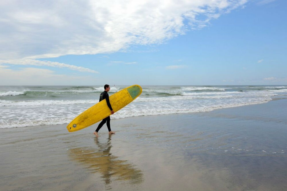 A surfer in Wildwood Crest, New Jersey