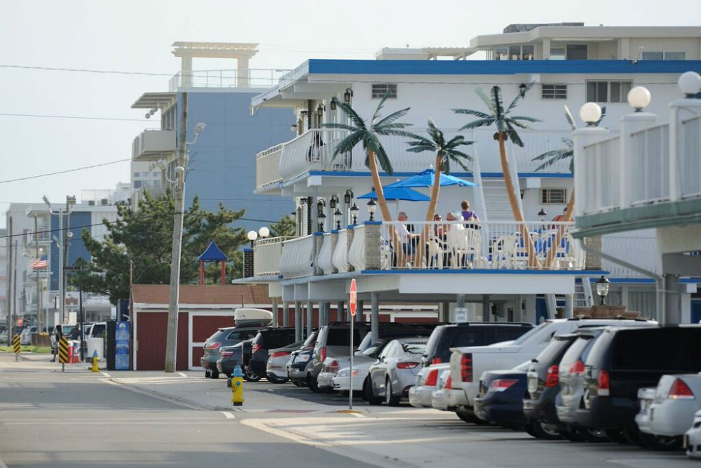 A typical Wildwood motel, complete with fake palm trees