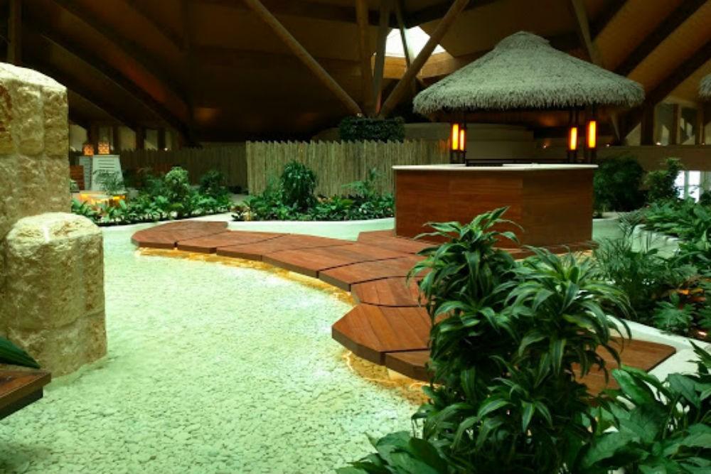 The wellness center's zen garden