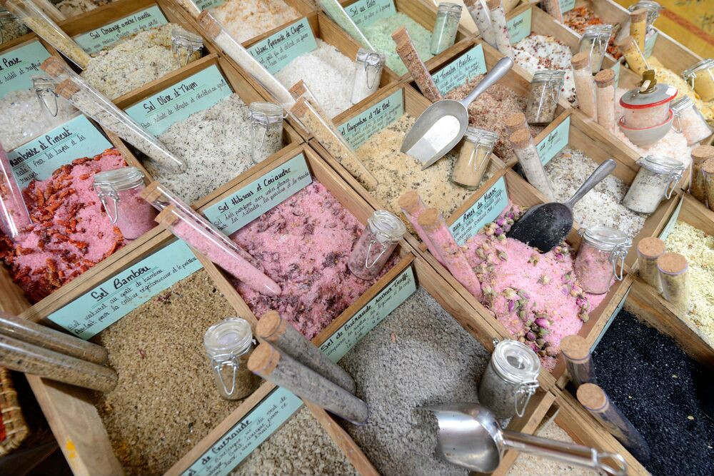 We found a rainbow of salts from around the world (including the Himalayas, Morocco, and Hawaii) in a shop called Lou Pantai in Nice, France.