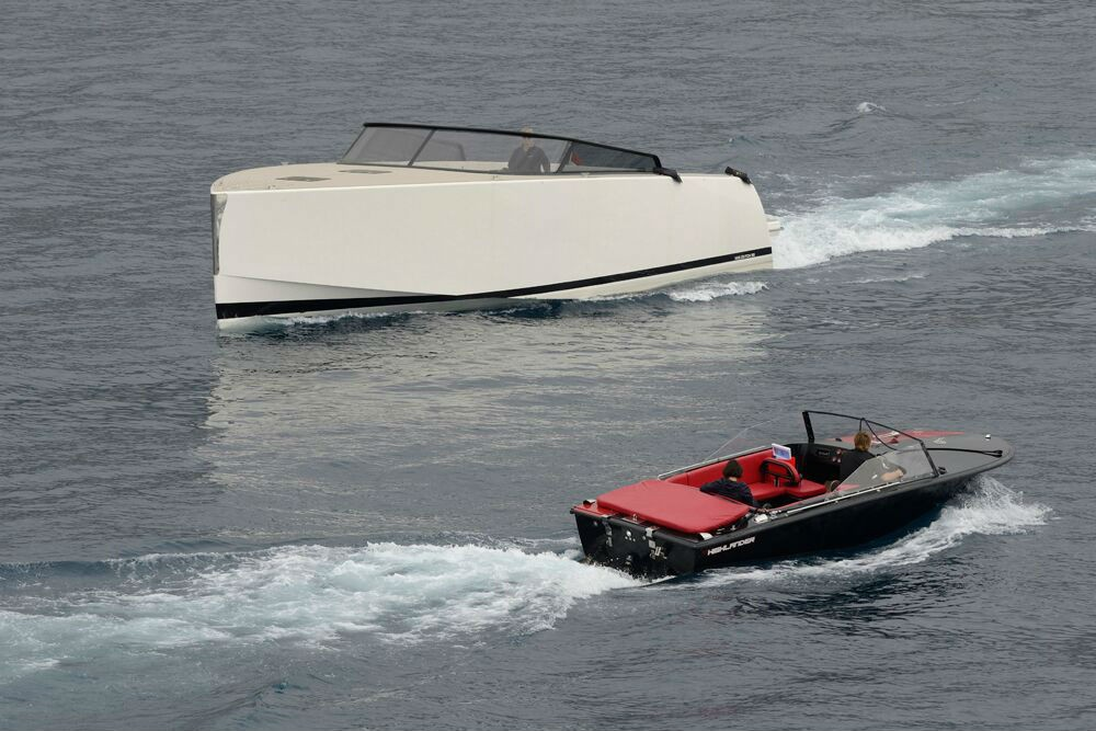 A VanDutch 55 in Monte Carlo's harbor, as viewed from aboard Star Breeze. The day cruiser carries a price tag of about $1.5 million (water skiis not included).