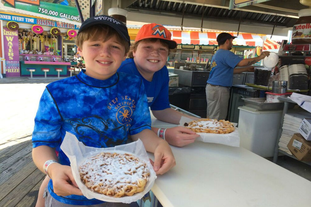 Doug and Charlie tried funnel cakes—and loved them.
