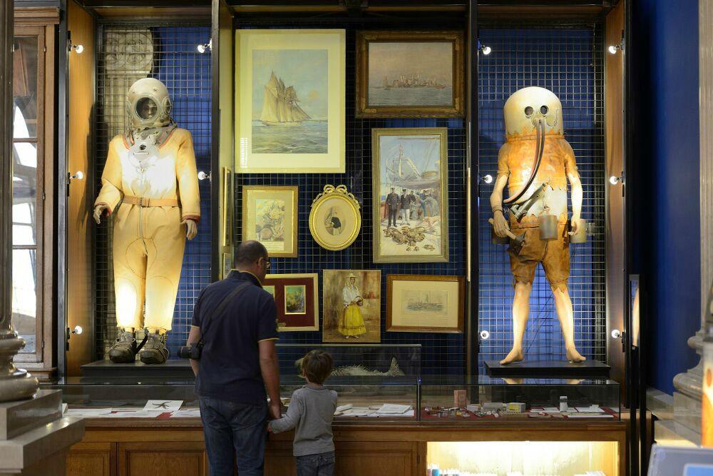 Antique diving gear at the Oceanographic Museum of Monaco.