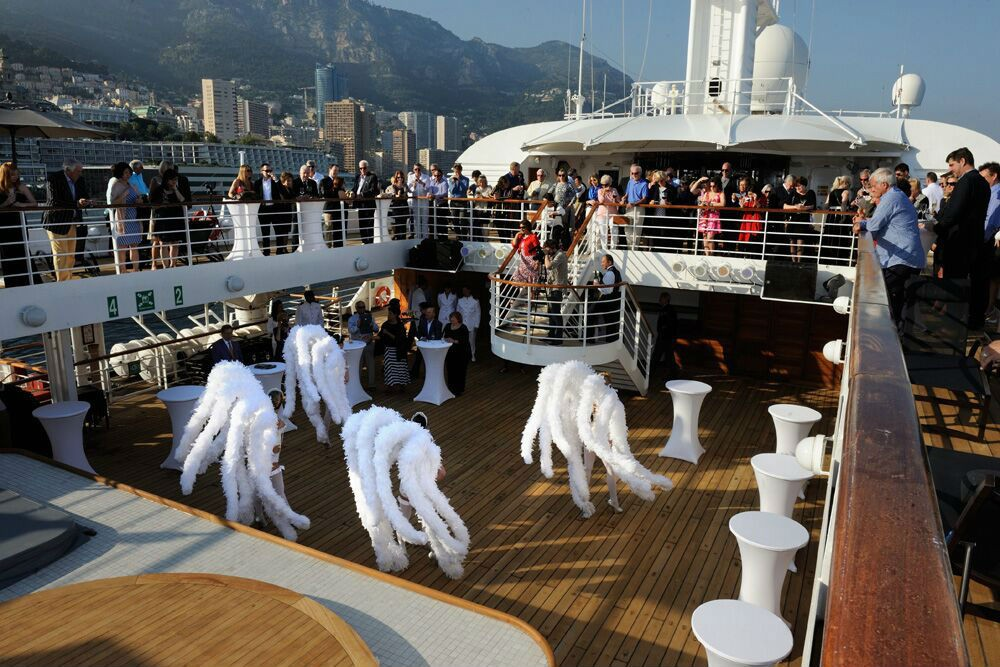In Monte Carlo, at cocktail hour, Windstar brought local dancers onboard the ship.