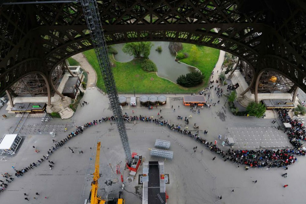 A two-hour line at the Eiffel Tower. Photo courtesy Tim Baker.