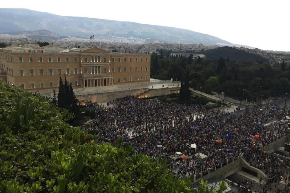 Athens Hotel Grande Bretagne protest