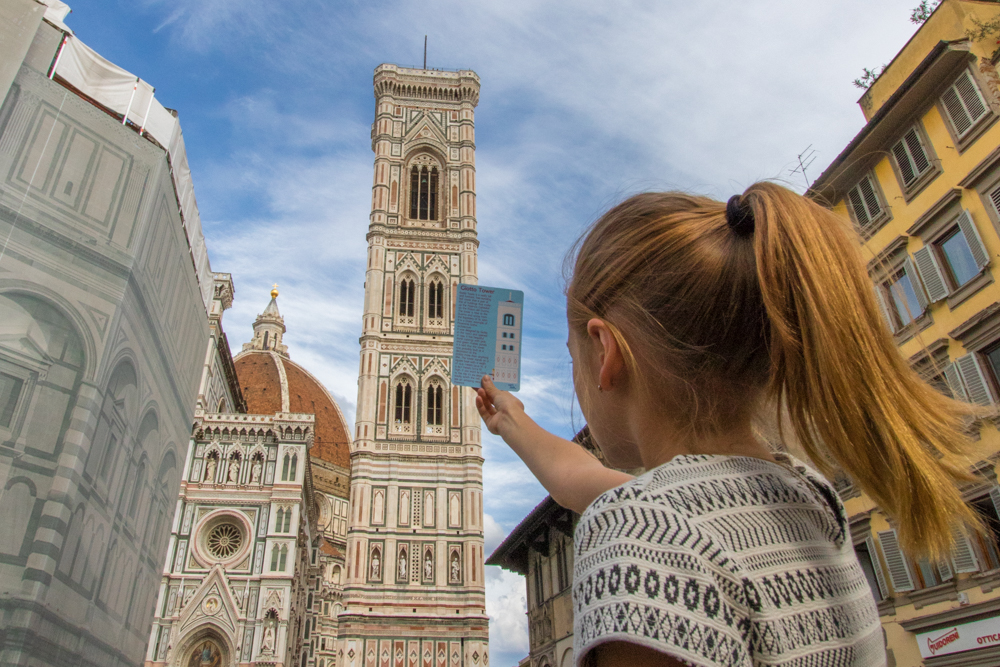 girl in front of duomo florence italy