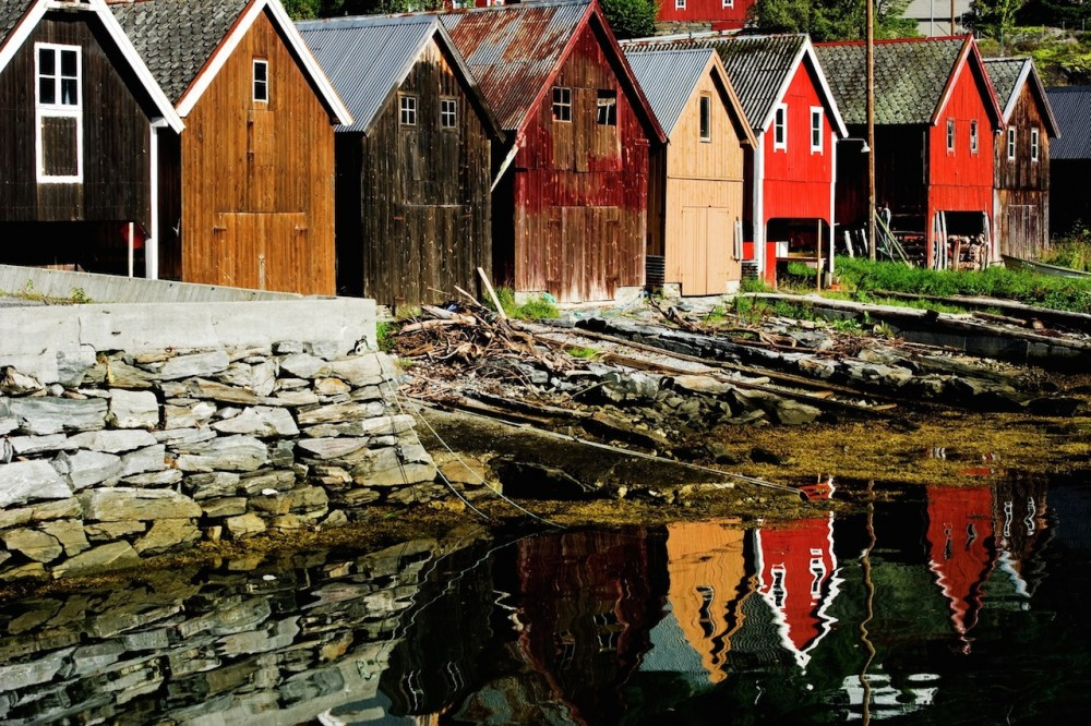 Boat houses in Fjørå, Norway