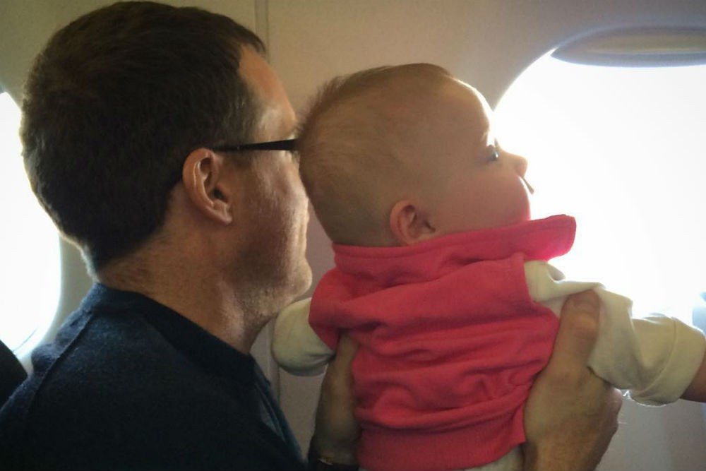 Scott takes his future avgeek along for the flight. Photo: Scott Mayerowitz/Instagram