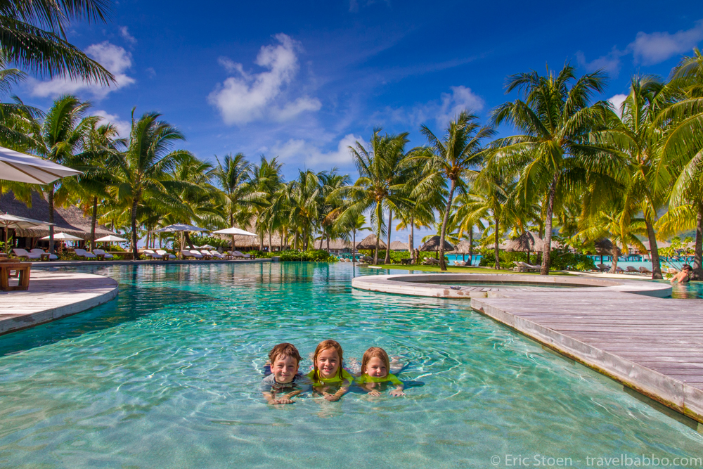 The Four Seasons Bora Bora is a honeymoon destination, but the pool couldn't have been more kid-friendly. by Travel Babbo