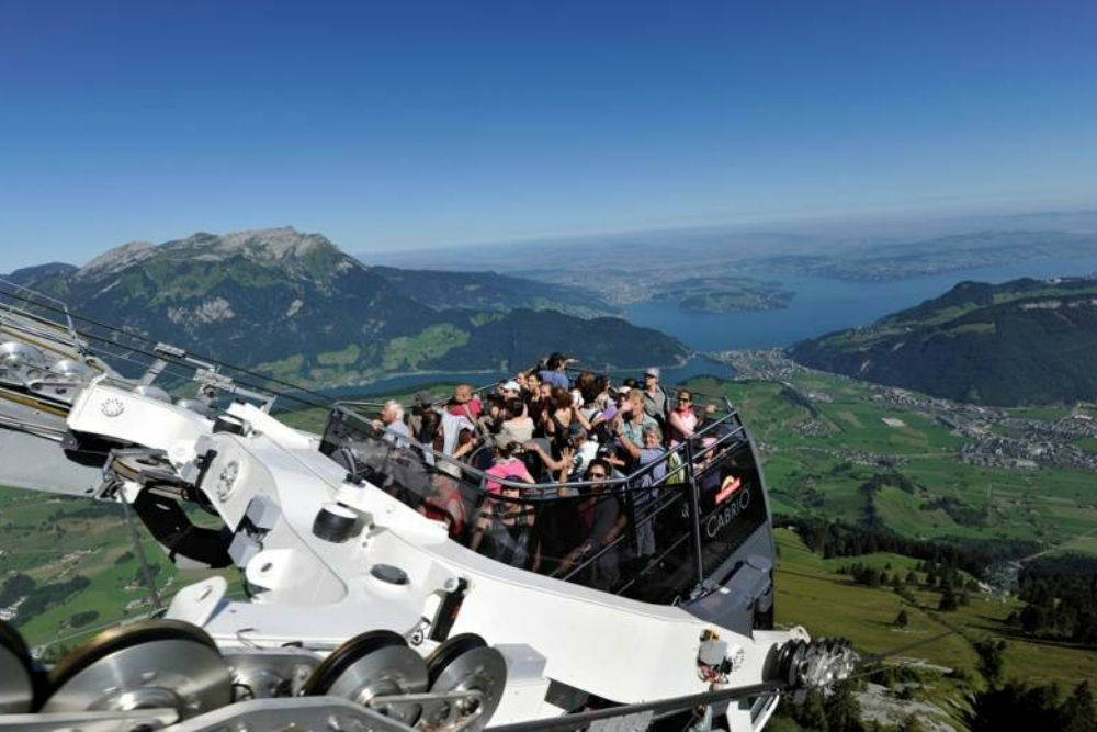 convertible cable car up Mt. Stanserhorn Switzerland