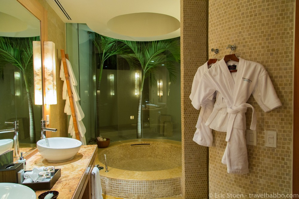 Three kid-sized robes waiting for us at the Rosewood Mayakoba by Travel Babbo