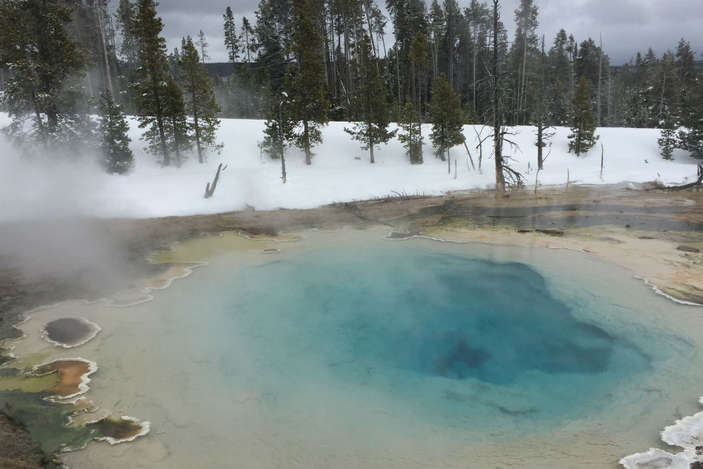 Yellowstone National Park hot springs in winter