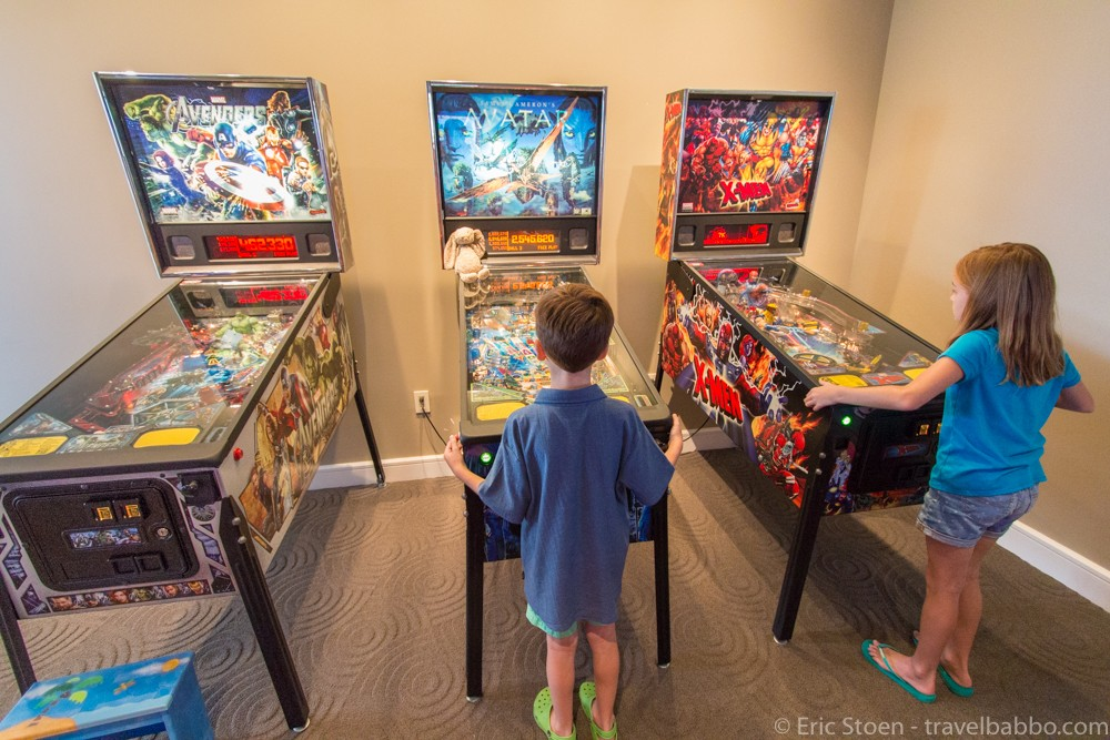 Playing complimentary pinball at the Four Seasons Orlando Resort. by Travel Babbo