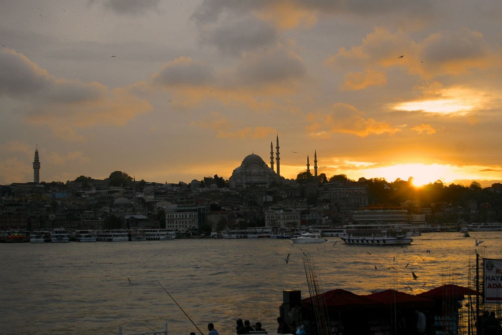 Sunset over Sultanahmet, Istanbul.