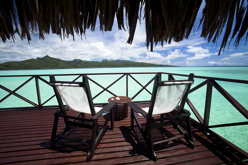 Vahine private island resort on the motu of Taha'a Island, Tahiti