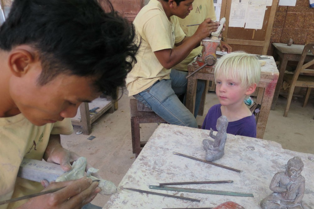 At the Artisans d'Angkor silk farm and workshops in Siem Reap, we got to take a crack at carving soapstone