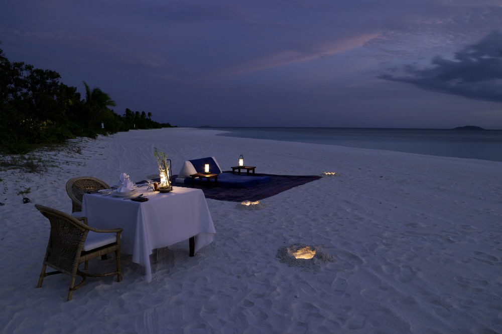 beach dinner at Amanpulo resort Philippines