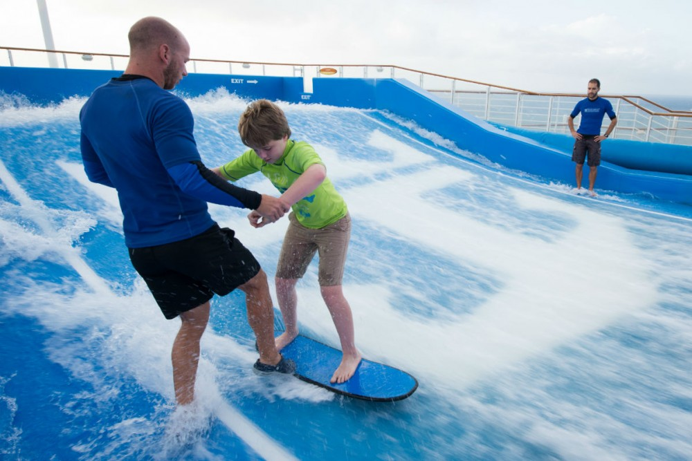 surfing the Flow Rider on Royal Caribbean's Allure of the Seas
