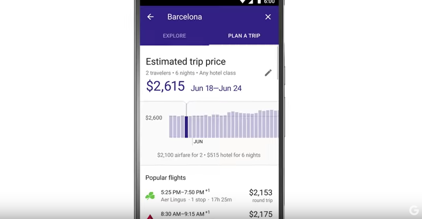 Google Destinations price screenshot