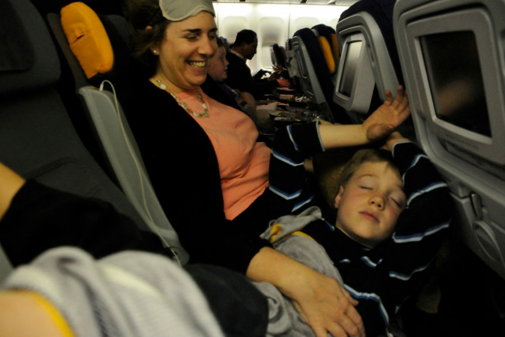 sleeping on a plane