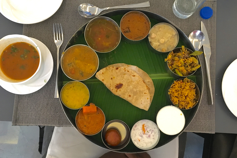 A sample of local specialties in Thali, South India. Photo by: Sanjay Saxena.