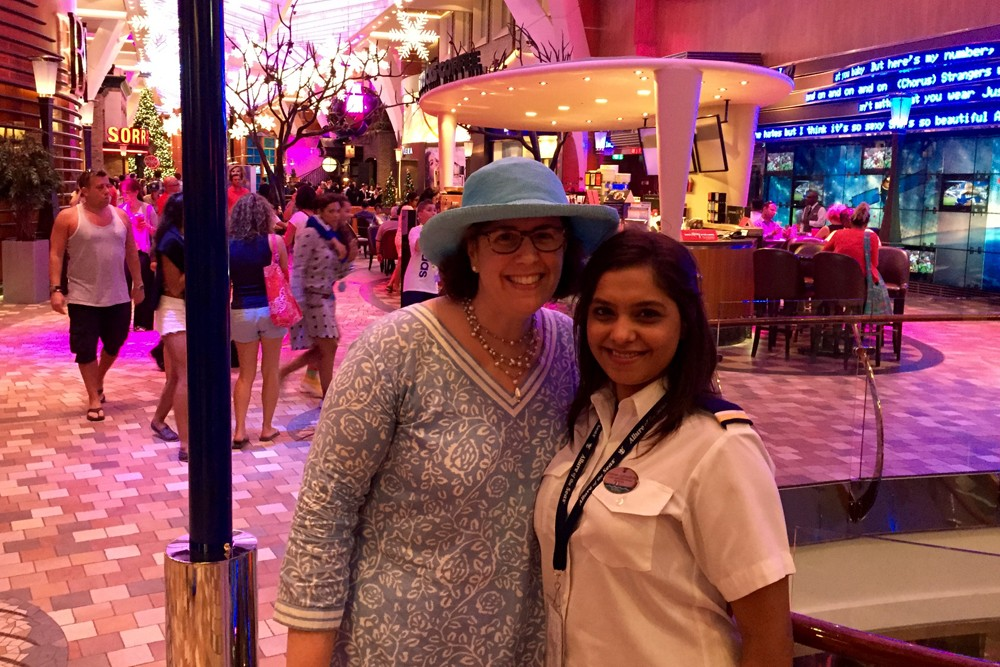 My genie, Smitha Thompson, and me in the Royal Promenade aboard Allure of the Seas.