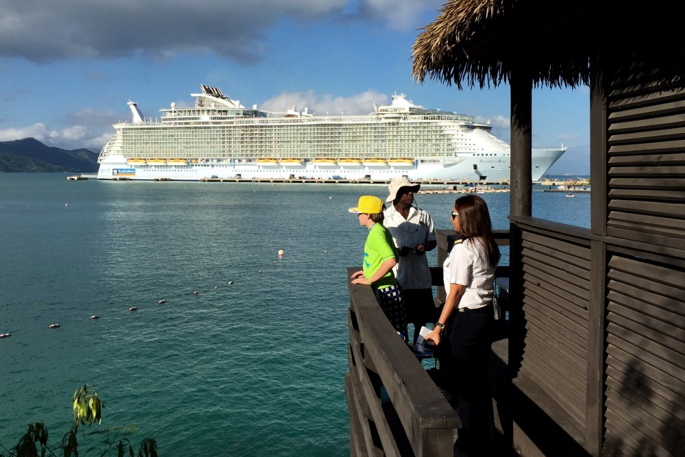 Smitha leads us to our cabana in Labadee, Royal Caribbean's private port in Haiti.