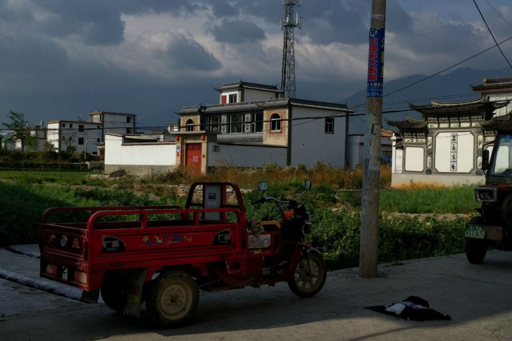 Farmland is right up against people's homes in Dali, Yunnan Province, China