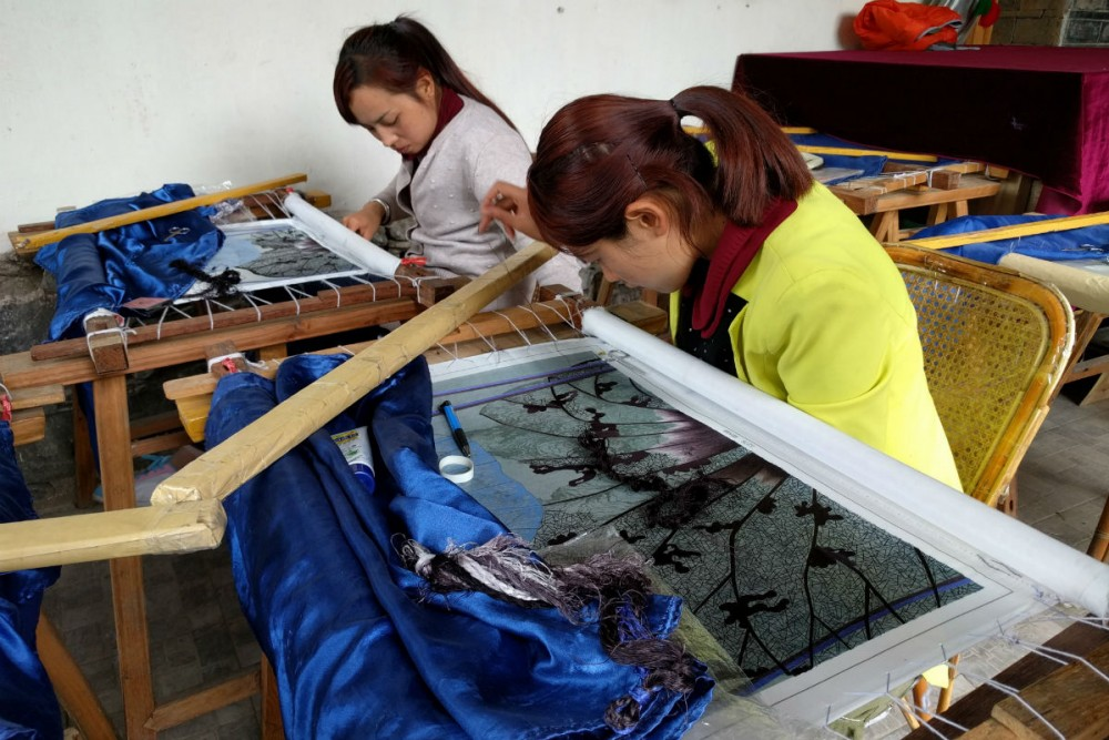 Visiting a small embroidery school in Dali, Yunnan Province, China
